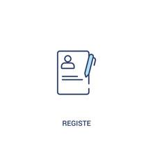 Registe Concept 2 Colored Icon. Simple Line Element Illustration. Outline Blue Registe Symbol. Can Be Used For Web And Mobile Ui/ux.