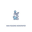 man reading newspaper concept 2 colored icon. simple line element illustration. outline blue man reading newspaper symbol. can be used for web and mobile ui/ux.