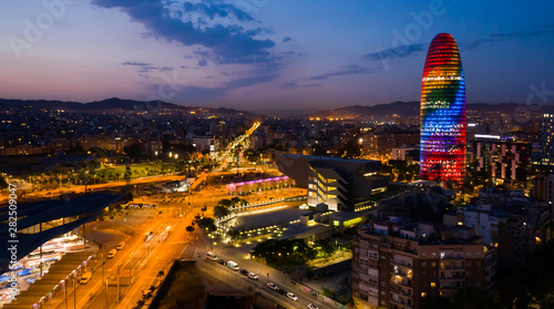 Foto auf Leinwand Barcelona Night view of Barcelona cityscape with Torre Glories