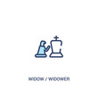 widow / widower concept 2 colored icon. simple line element illustration. outline blue widow / widower symbol. can be used for web and mobile ui/ux.