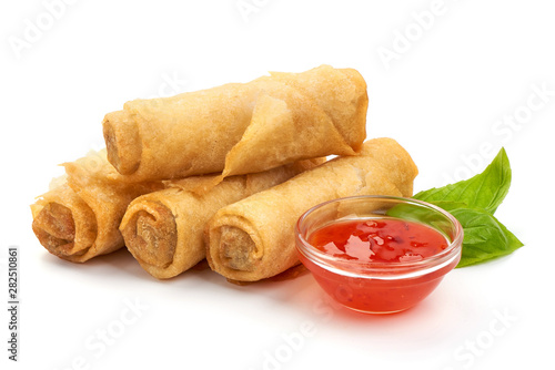 Chinese Traditional Spring rolls, isolated on white background Wallpaper Mural