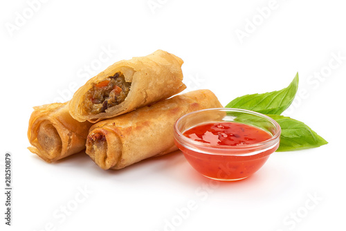 Fried Chinese Traditional Spring Rolls With Sweet Chili Sauce Isolated On White Background Buy This Stock Photo And Explore Similar Images At Adobe Stock Adobe Stock