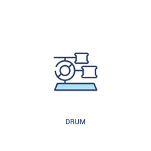 Drum Concept 2 Colored Icon. Simple Line Element Illustration. Outline Blue Drum Symbol. Can Be Used For Web And Mobile Ui/ux.