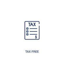 Tax Free Concept 2 Colored Icon. Simple Line Element Illustration. Outline Blue Tax Free Symbol. Can Be Used For Web And Mobile Ui/ux.