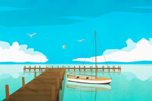 Sailboat Moored At Tranquil Ocean Dock