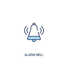 Alarm Bell Concept 2 Colored Icon. Simple Line Element Illustration. Outline Blue Alarm Bell Symbol. Can Be Used For Web And Mobile Ui/ux.