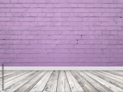 Brick wall interior violet background with a wooden floor