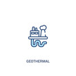 geothermal concept 2 colored icon. simple line element illustration. outline blue geothermal symbol. can be used for web and mobile ui/ux.