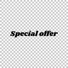 Special Offer Inscription. Black Icon On Transparent Background. Illustration.