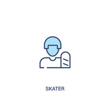 Skater Concept 2 Colored Icon. Simple Line Element Illustration. Outline Blue Skater Symbol. Can Be Used For Web And Mobile Ui/ux.
