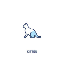 Kitten Concept 2 Colored Icon. Simple Line Element Illustration. Outline Blue Kitten Symbol. Can Be Used For Web And Mobile Ui/ux.