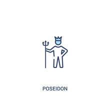 Poseidon Concept 2 Colored Icon. Simple Line Element Illustration. Outline Blue Poseidon Symbol. Can Be Used For Web And Mobile Ui/ux.