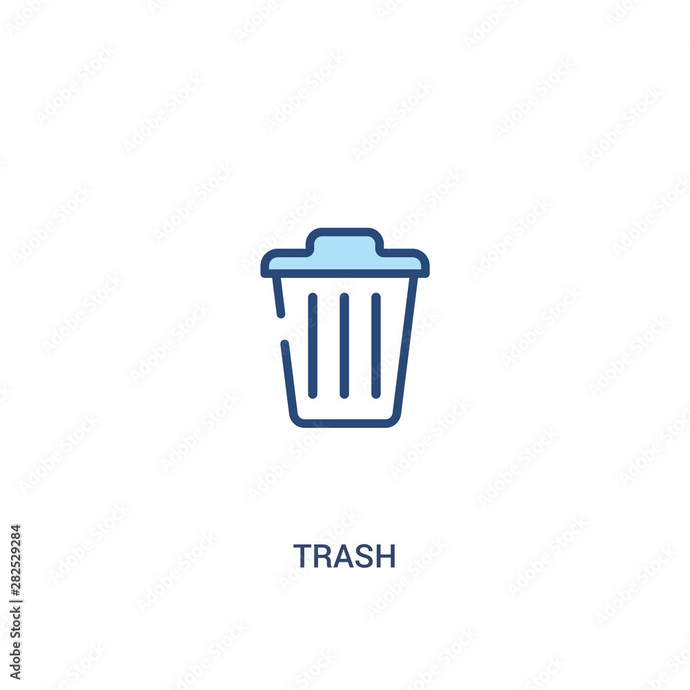 Fototapeta trash concept 2 colored icon. simple line element illustration. outline blue trash symbol. can be used for web and mobile ui/ux.