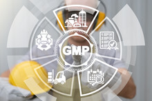 GMP Good Manufacturing Practice Concept. Industrial Practices Quality Assurance Education. Trainee Uses On Virtual Screen Of Future And Touches Abbreviation: GMP.