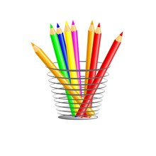 A Set Of Colored Pencils, Stands Upright In A Glass Isolated On White Background.
