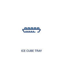 Ice Cube Tray Concept 2 Colored Icon. Simple Line Element Illustration. Outline Blue Ice Cube Tray Symbol. Can Be Used For Web And Mobile Ui/ux.