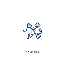 Dancers Concept 2 Colored Icon. Simple Line Element Illustration. Outline Blue Dancers Symbol. Can Be Used For Web And Mobile Ui/ux.