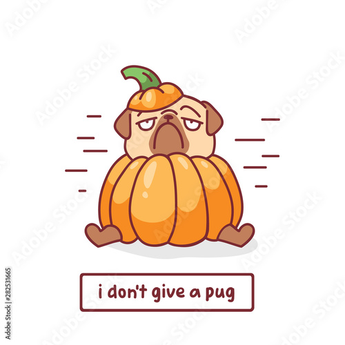 cartoon pug dog character inpumpkin halloween costume with vector illustration w Canvas Print