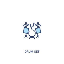 Drum Set Concept 2 Colored Icon. Simple Line Element Illustration. Outline Blue Drum Set Symbol. Can Be Used For Web And Mobile Ui/ux.
