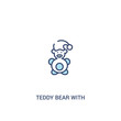 teddy bear with sleep hat concept 2 colored icon. simple line element illustration. outline blue teddy bear with sleep hat symbol. can be used for web and mobile ui/ux.