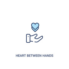 Heart Between Hands Concept 2 Colored Icon. Simple Line Element Illustration. Outline Blue Heart Between Hands Symbol. Can Be Used For Web And Mobile Ui/ux.