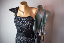Mannequin, Tailor Dummy With Beautiful Black Dress Indoors Close Up.