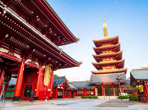 Fotografering 浅草寺 宝蔵門と五重塔