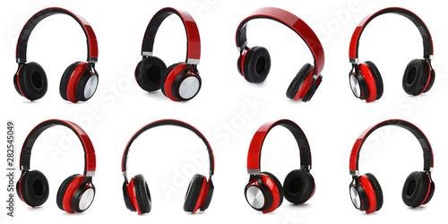 Set of modern headphones on white background Obraz na płótnie
