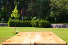 Empty Wooden Picnic Table In G...