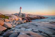 Peggy's Cove Lighthouse At Sun...