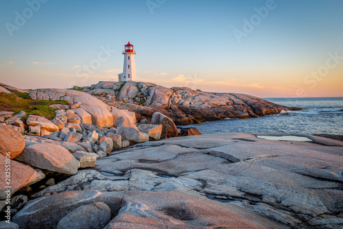 Peggy's Cove Lighthouse at Sunset Wallpaper Mural