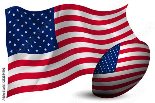 Obraz na plátně  アメリカ ラグビー ボール  国旗