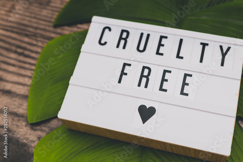 Obraz cruelty free message on lightbox with leaf and wood, concept of vegan ethics - fototapety do salonu