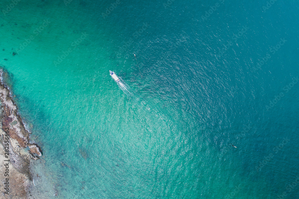 Fototapety, obrazy: Aerial view on the sea and boat or speedboat. Beautiful natural seascape at the summer time. Island and beautiful beach. blue seascape