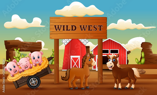 Animal farm in the wild west landscape