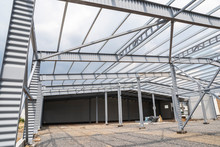 Industrial Building Frame, Metal Supports And Partitions For Construction And Roof