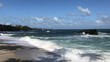 rough seas, waves crashing on an empty beach with coconut trees
