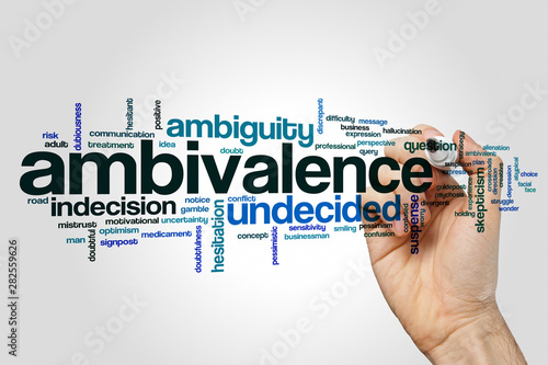 Photo Ambivalence word cloud concept on grey background