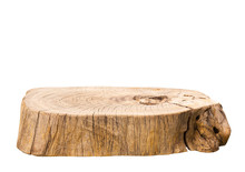 Beautiful Texture Of Old Tree Stump Table Top On White Background.