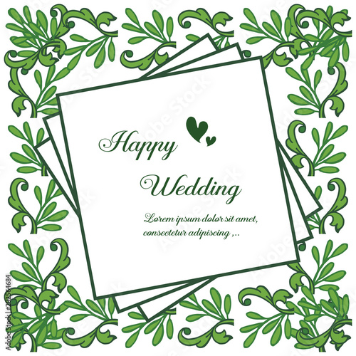 Fototapety, obrazy: Template for happy wedding, colorful flower and frame of leaf branches. Vector