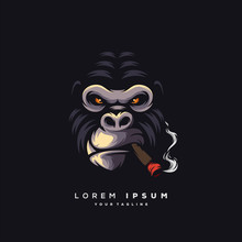 Awesome Smoking Ape Logo Design