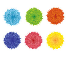 Set Of Colorful Cartoon Fluffy Pompom. Fur Shaggy Balls. Red, Pink, Blue, Green, Yellow Furry Shapes. Vector Toy Isolated On White Background. Wool Flowers. Funny Assets For Game Design.