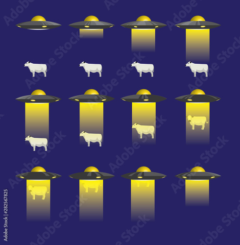 UFO Abduction 3D Cow Animate Cartoon Vector Illustration Wallpaper Mural
