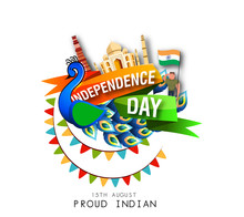 Vector Festive Illustration Of Independence Day In India Celebration On August 15.