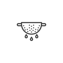 Colander Line Icon. Cooking Instructions Linear Style Sign For Mobile Concept And Web Design. Strainer Outline Vector Icon. Symbol, Logo Illustration. Vector Graphics