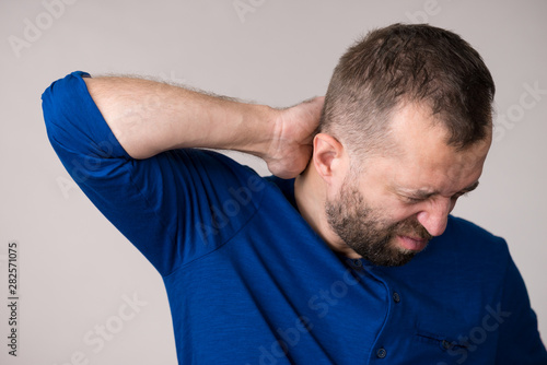 Man having neck ache