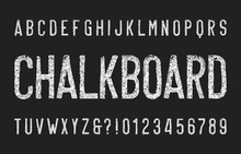 Chalk Alphabet Font. Narrow Uppercase Retro Letters And Numbers. Stock Vector Typeface.