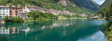 Carona. Bergamo, Orobie, Italian Alps, Italy. Landscape At The Artificial Lake And The Village. Summer Time