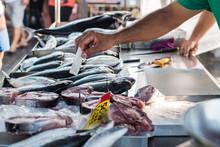 Fresh Fish Capture At Traditional Food Market