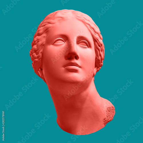 Photo Modern conceptual art poster with ancient statue of bust of Venus
